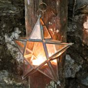 Brass Glass Hanging Star Lantern